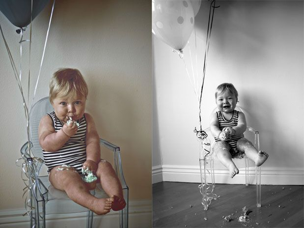 Oh Heavens!!! This is way too cute. The balloons, the chair, the cake…in the face! I love it all!