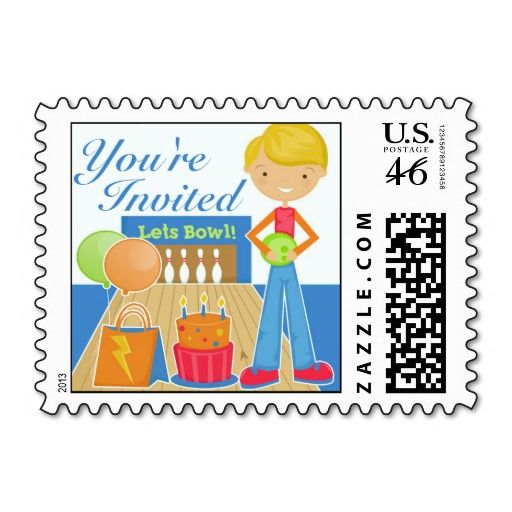 This is the matching Postage of the cute Bowling Invitation Card! It's perfect for your child's birthday, and totally customizable!