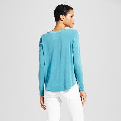 14b8843f Women's Softest Long Sleeve V-Neck T-shirt - Mossimo Supply Co. Turquoise XL