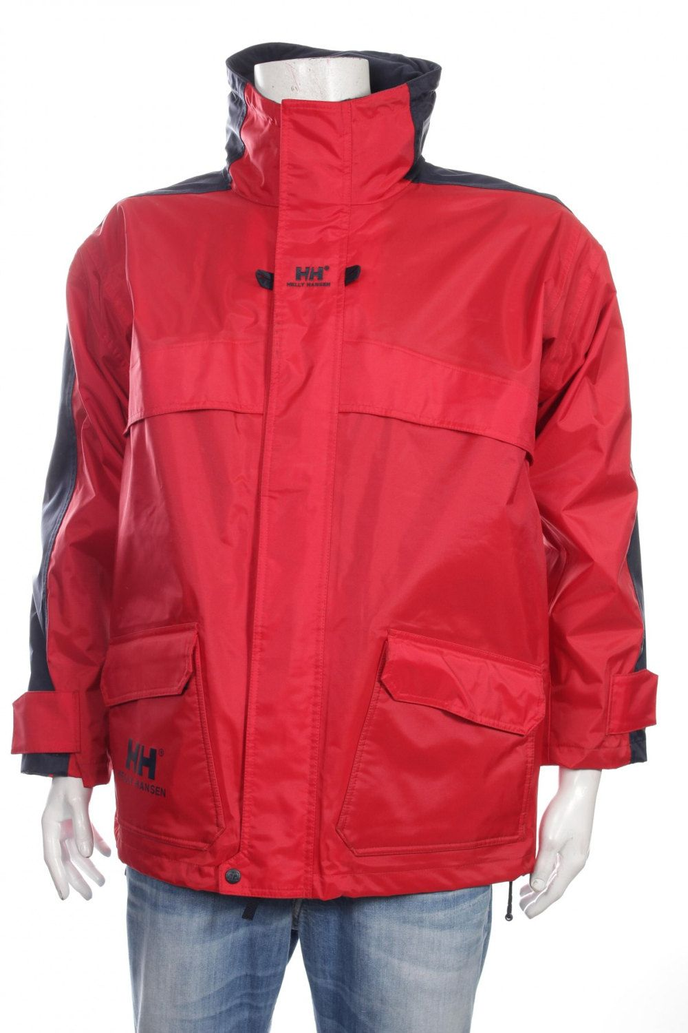 db4e02b0384c6 Vintage 90s Helly Hansen proof hooded jacket big logo color block red blue  size L by VapeoVintage on Etsy