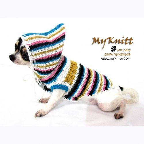 Hood dog sweater striped and colorful handmade crochet cotton by ...