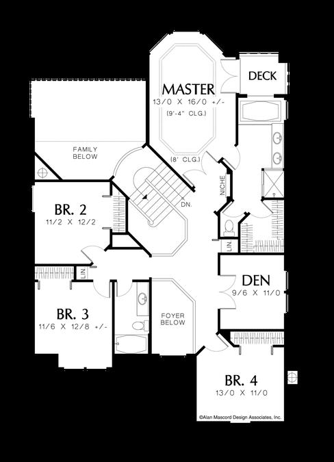 Upper Floor Plan Image For Mascord Barnhart 4 Bedroom Traditional Plan With Den Upper Floor Plan House Plans European House Plan Floor Plans