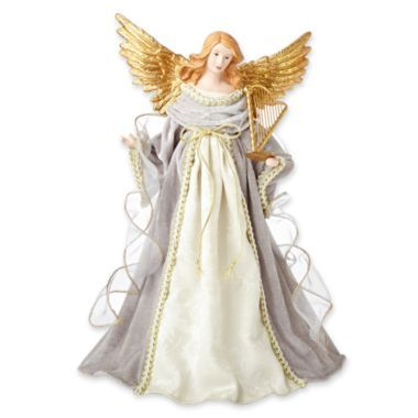 MarthaHoliday™ Silent Night Silver Angel with a Harp Christmas Tree