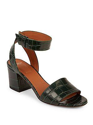 05669d0b85a5 Givenchy Paris Croc-Embossed Leather Block-Heel Sandals - Bottle Green