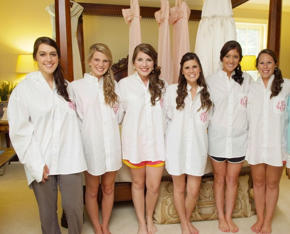 Bridesmaids Gifts Monogrammed Shirt Oversized On Down 45 00 Via Etsy