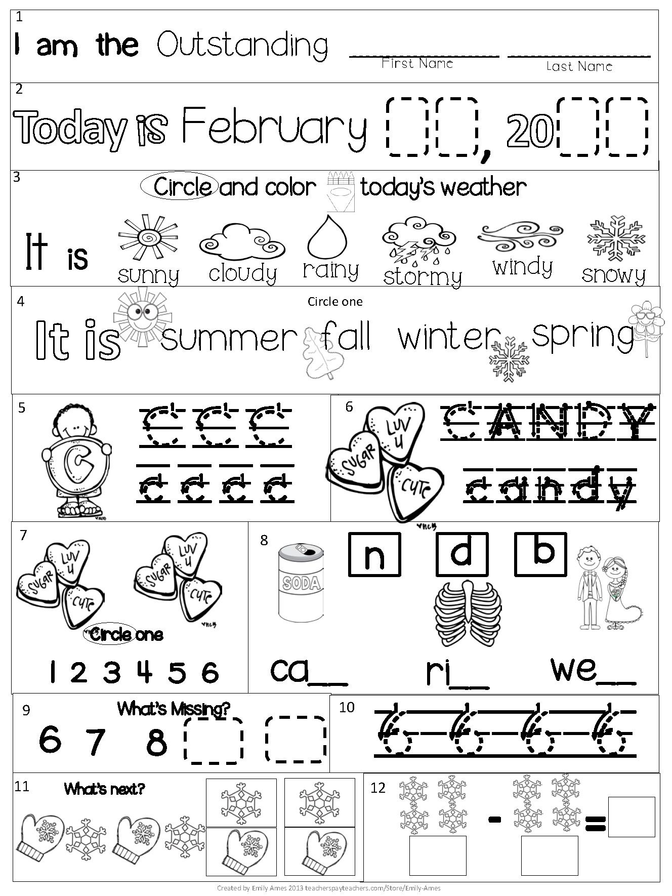 Morning Work Kindergarten February Packet Common Core