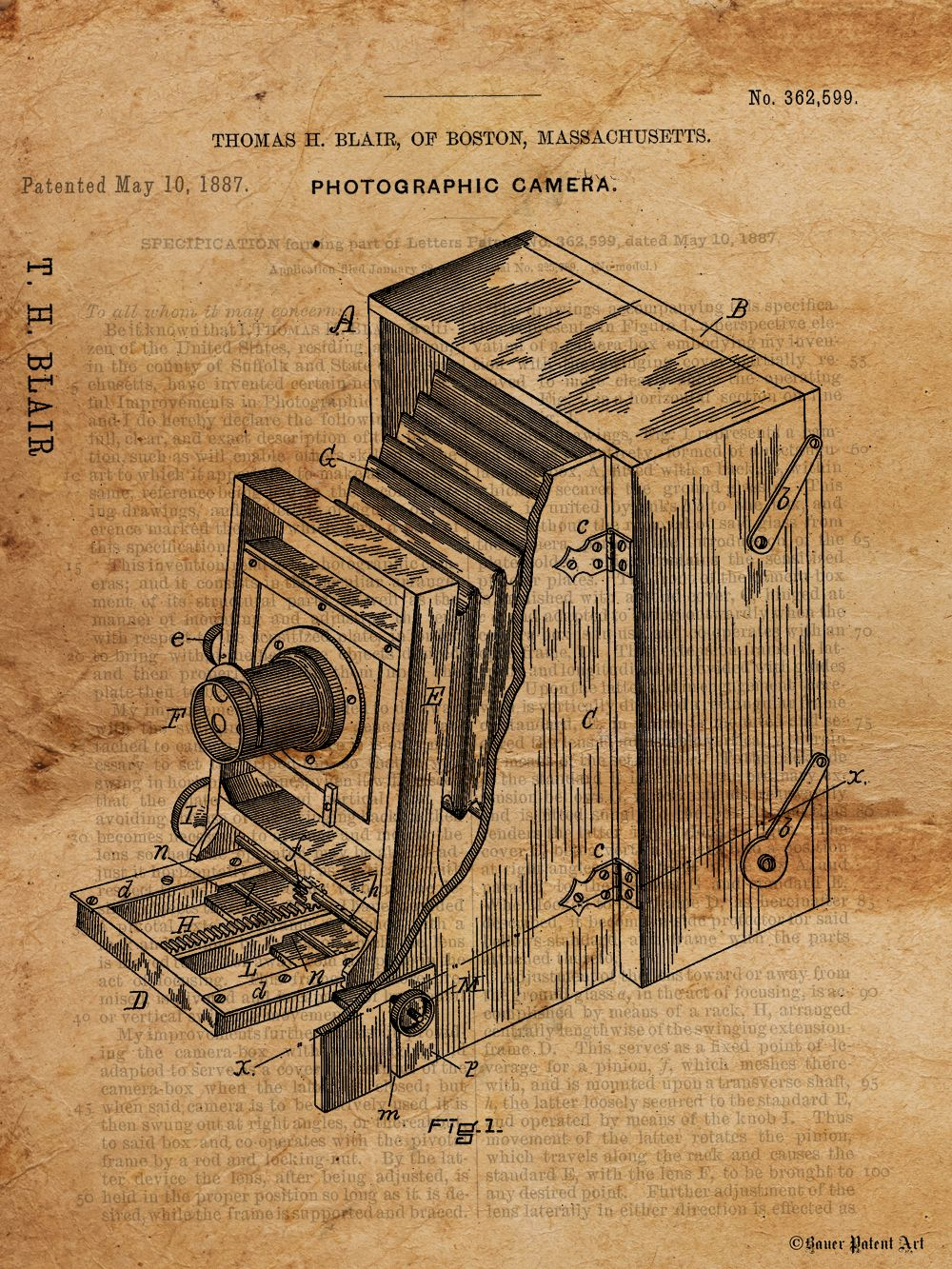 Vintage patent art drawing of camera blueprint art patent drawing vintage patent drawing art vintage blueprint art malvernweather Image collections
