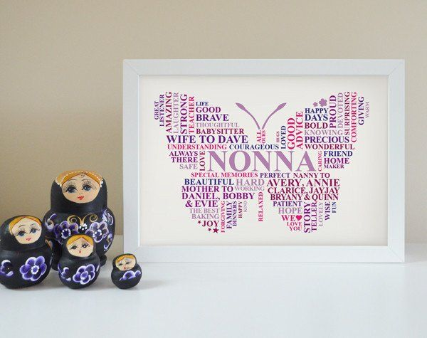 Personalised Grammy butterfly frame. Framed Grammy butterfly gift ...