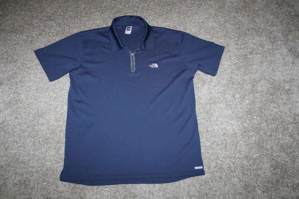 ea43acdf7 The North Face Mens Vapor Wick 1/2 Zip Short Sleeve Polo Shirt Blue ...