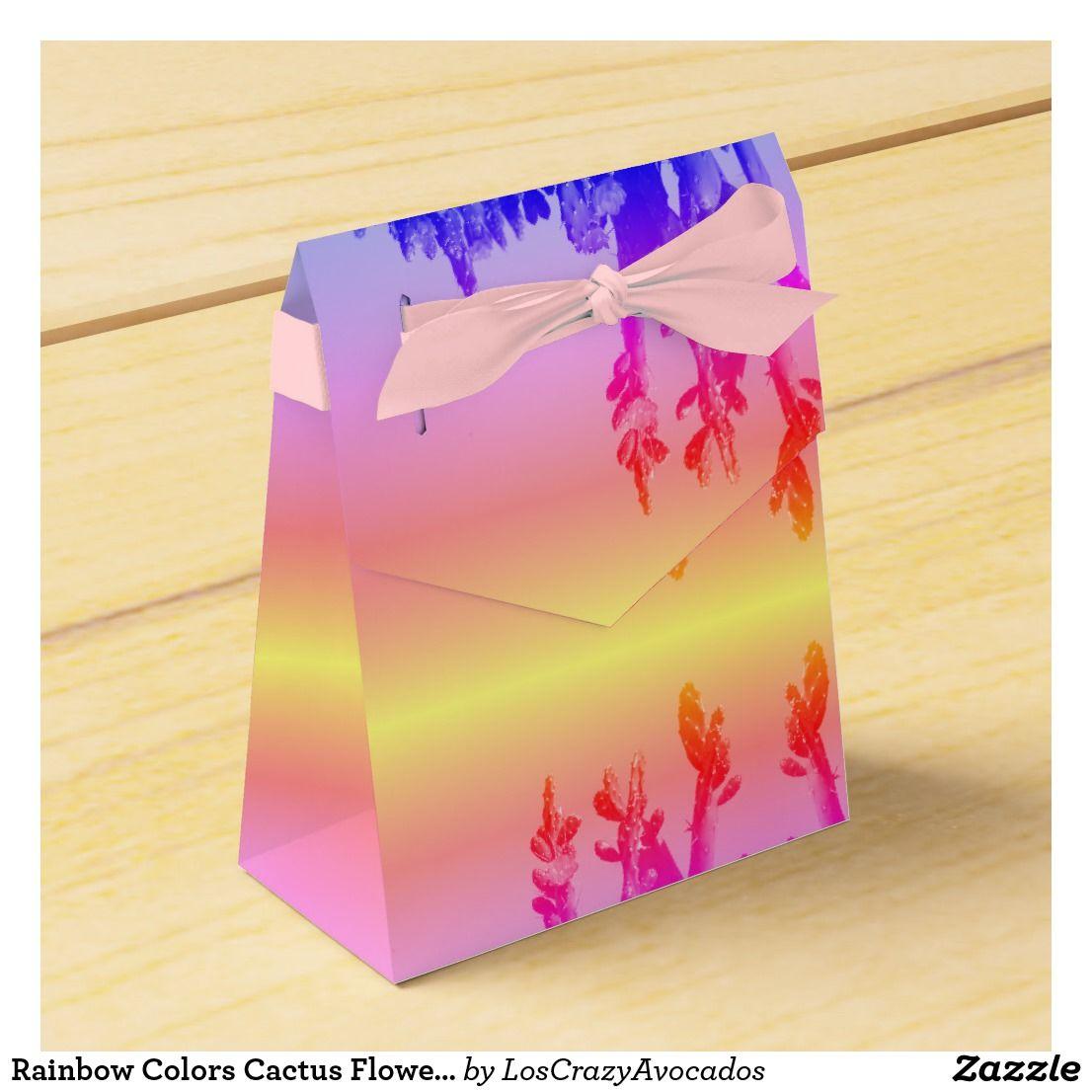 Rainbow Colors Cactus Flowers Gift Favor Box   Cactus flower ...
