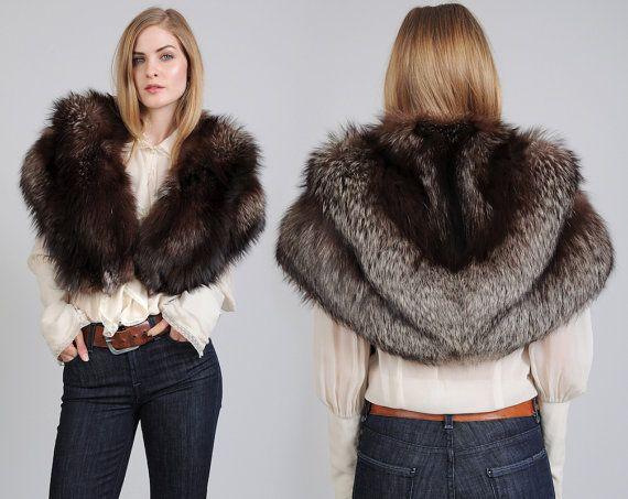 vintage FOX FUR cape jacket 50s 60s silver fox fur stole capelet ...