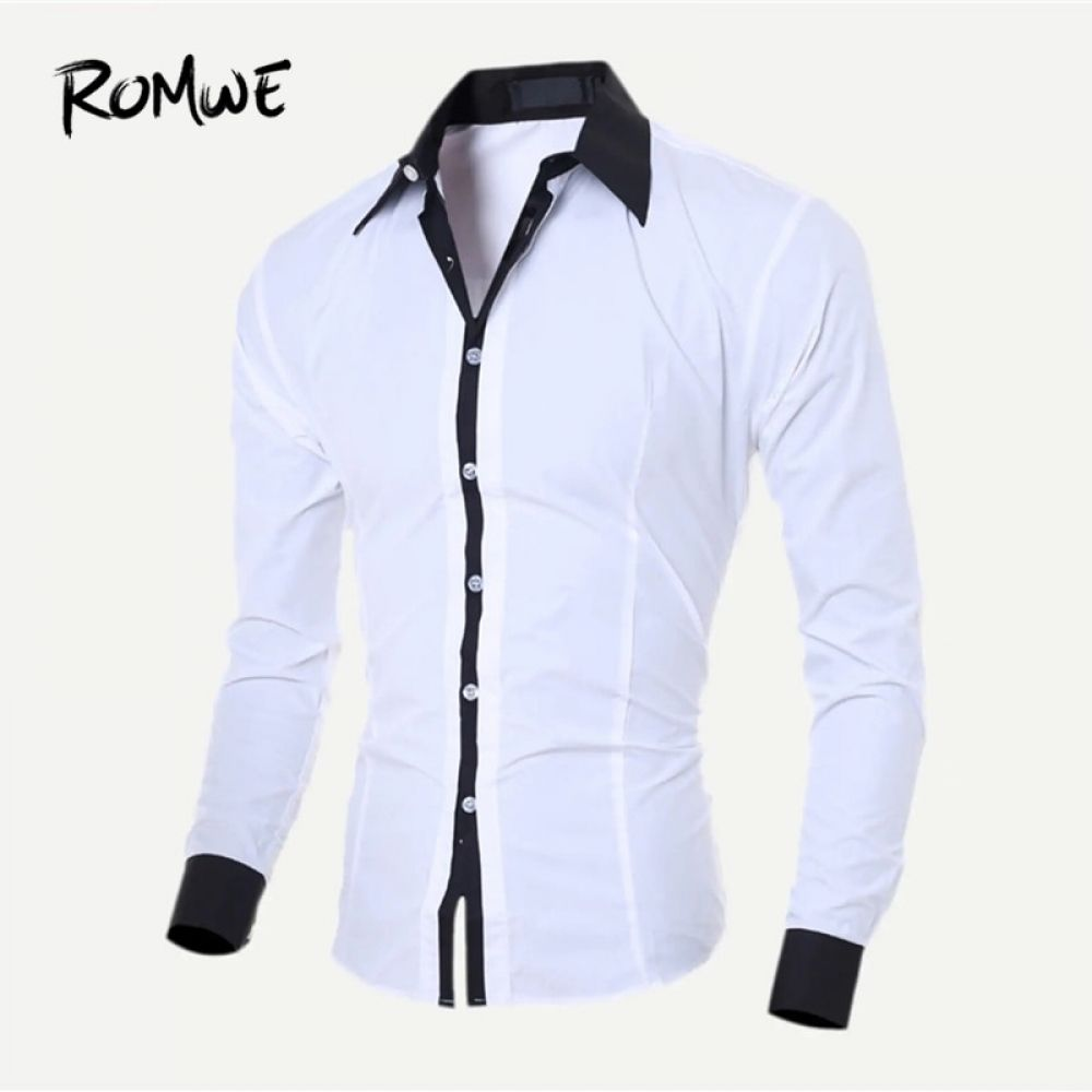 Romwe Hombres Color Bloque Camisa 2019 Nueva Moda Primavera Otono Ropa Masculina Camisa De Manga L In 2020 Mens Shirt Dress Long Sleeve Shirt Men Casual Shirts For Men