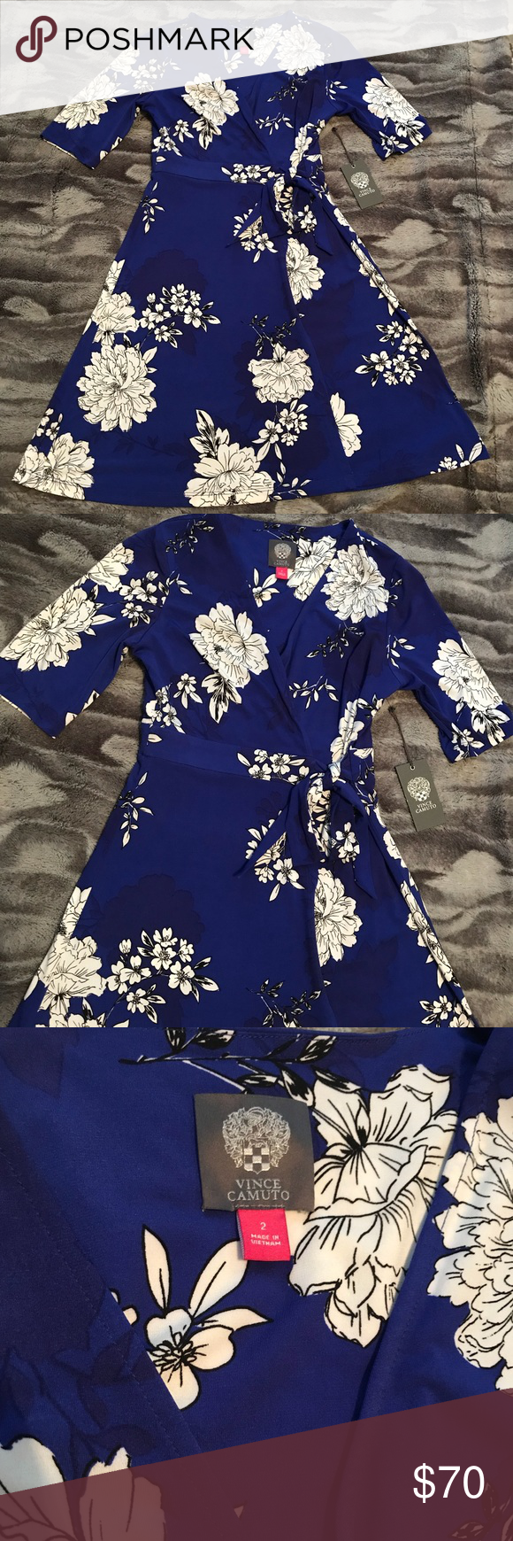 Vince Camuto Blue And White Floral Dress Sz2 White Floral Dress Dresses Clothes Design [ 1740 x 580 Pixel ]