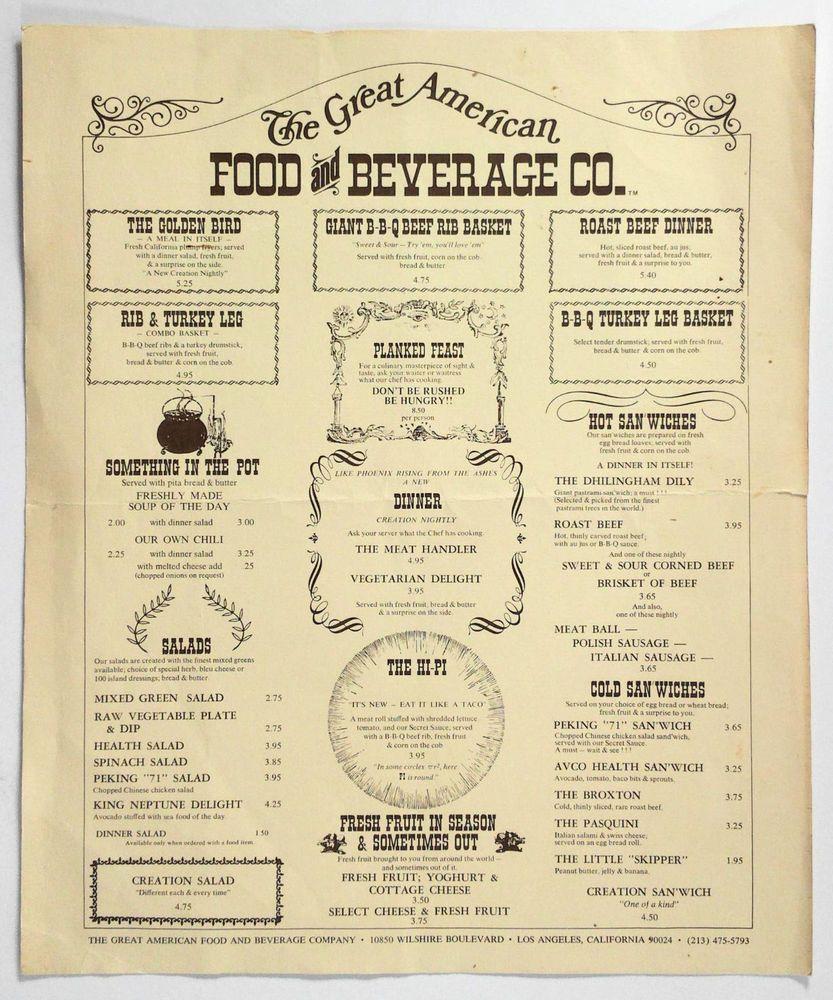 1970 Vintage Menu Great American Food Beverage Co Restaurant Los Angeles Ca Vintage Menu Los Angeles Restaurants Menu Restaurant