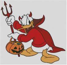 Cross Stitch Chart of Halloween Devil Donald Duck