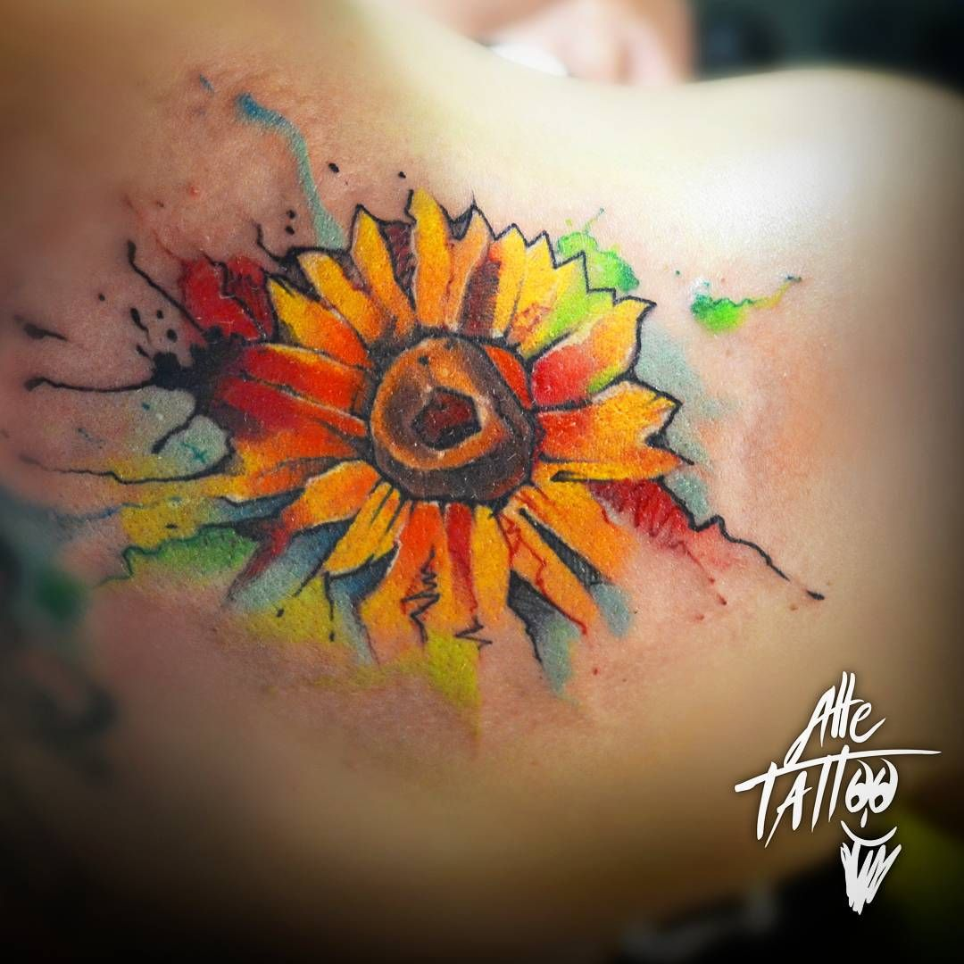 sunflower watercolor tattoo google suche tattoo designs pinterest tattoo ideen pflanzen. Black Bedroom Furniture Sets. Home Design Ideas
