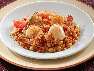 Chefmd healthy recipe saffron scallop shrimp and chickpea paella chefmd healthy recipe saffron scallop shrimp and chickpea paella forumfinder Images