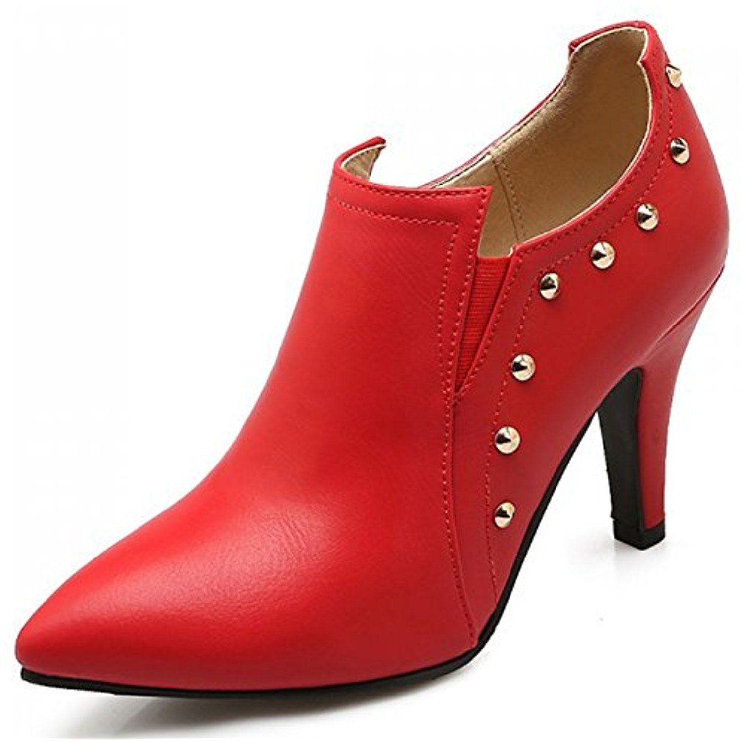 Women's Sexy Rivets Studded Pointed Toe Club Booties Stiletto High Heel Elastic Short Ankle Boots Shoes