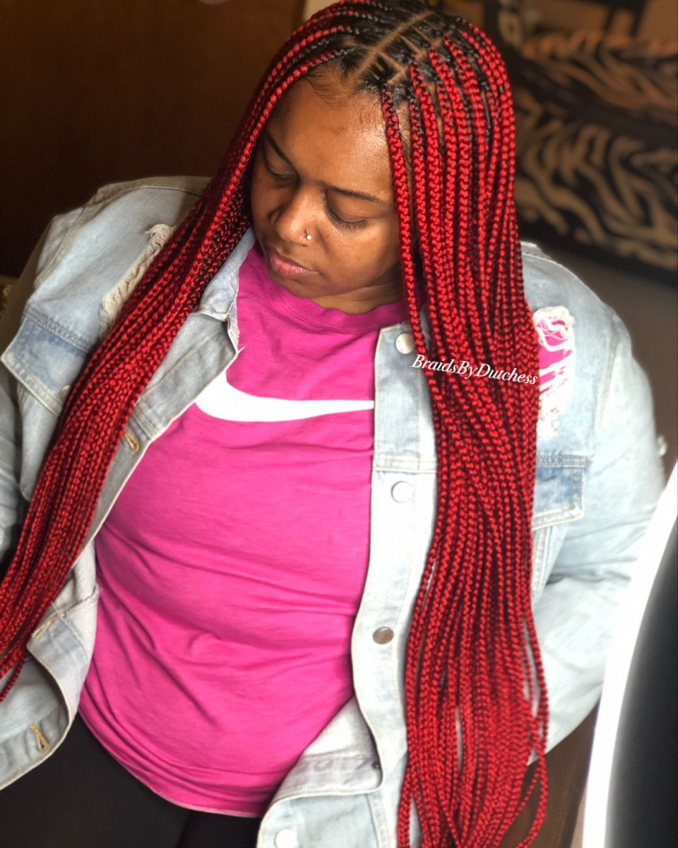 14++ Long red knotless braids trends
