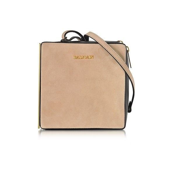 Balmain Handbags Pablito Nude Velvet Shoulder Bag (€430) ❤ liked on Polyvore featuring bags, handbags, shoulder bags, nude, beige handbags, shoulder strap bags, purse shoulder bag, shoulder strap purses and shoulder handbags