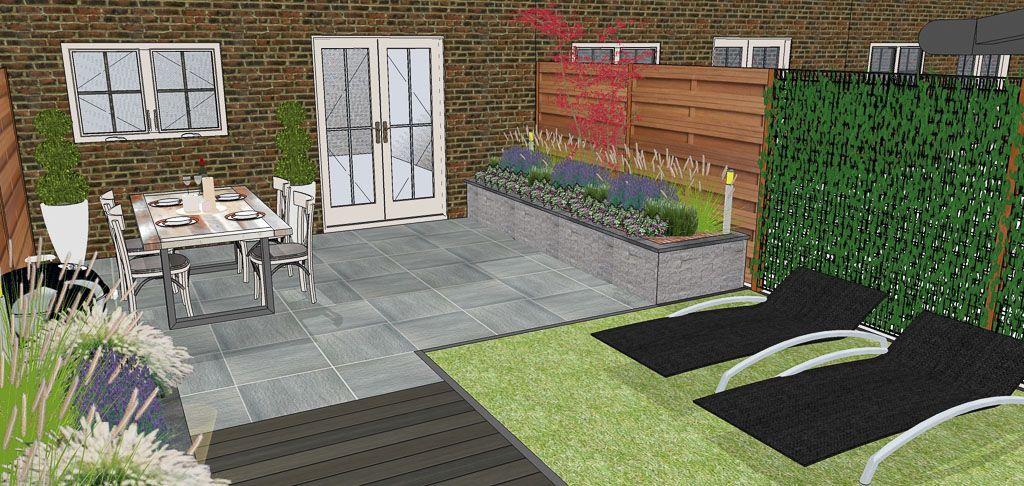 Tuinontwerp almere langwerpige achtertuin garden pinterest tuinontwerp tuin en modern - Deco lounge oud en modern ...