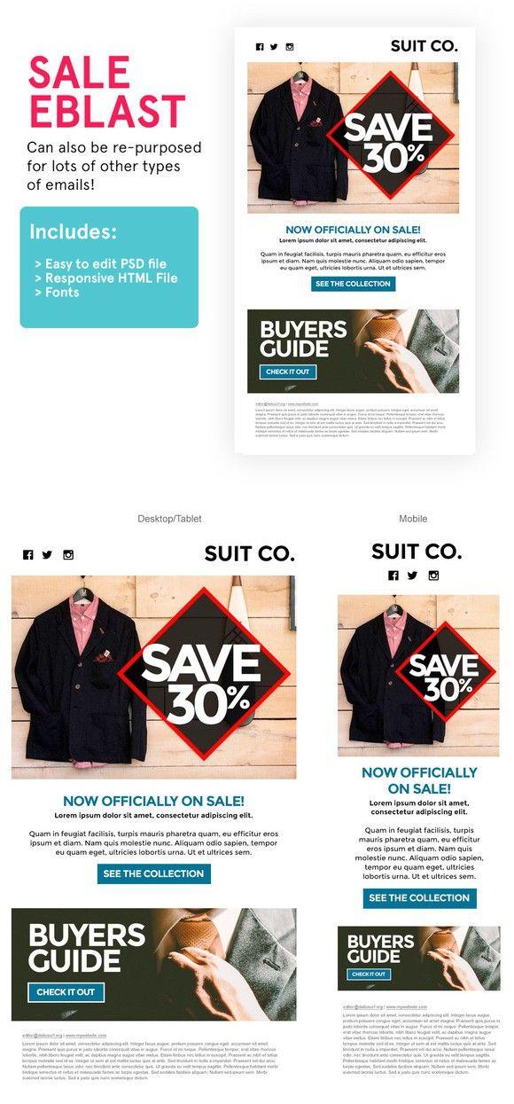 Product Sale Eblast (HTML+PSD) Email templates, Psd