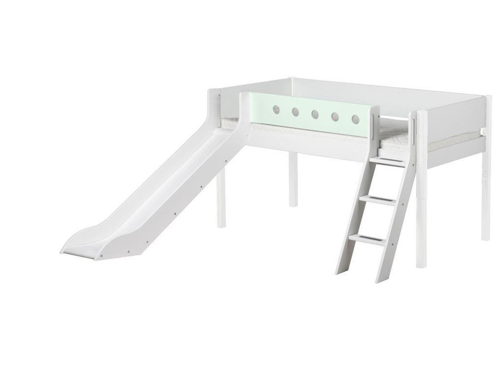 Twin low loft bed with slide  Halbhoch Bett Weiß mit schräger Leiter und Rutsche Flexa White