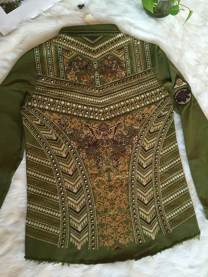 Women's Jacket Rivets Floral Embroidery Embellished Front Pockets Cotton Loose For Spring Women's Jacket Rivets Floral Embroidery Embellished Front Pockets Cotton Loose For Spring Women's Jacket Rivets Floral Embroidery Embellished Front Pockets Cotton Loose for Spring Women's Jacket Rivets Floral Embroidery Embellished Front Pockets Cotton Loose for Spring Woman Jackets and Blazers womans jackets