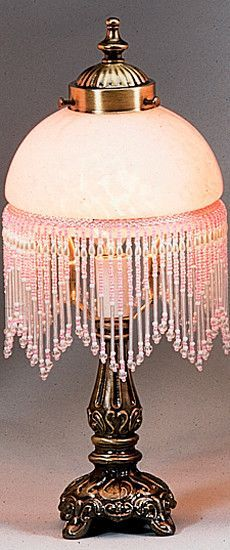 Meyda Tiffany Victorian Glass Globe Pink Fringed 8 H Table Lamp With Bowl Shade Pink Lamp Victorian Lamps Beaded Lamps