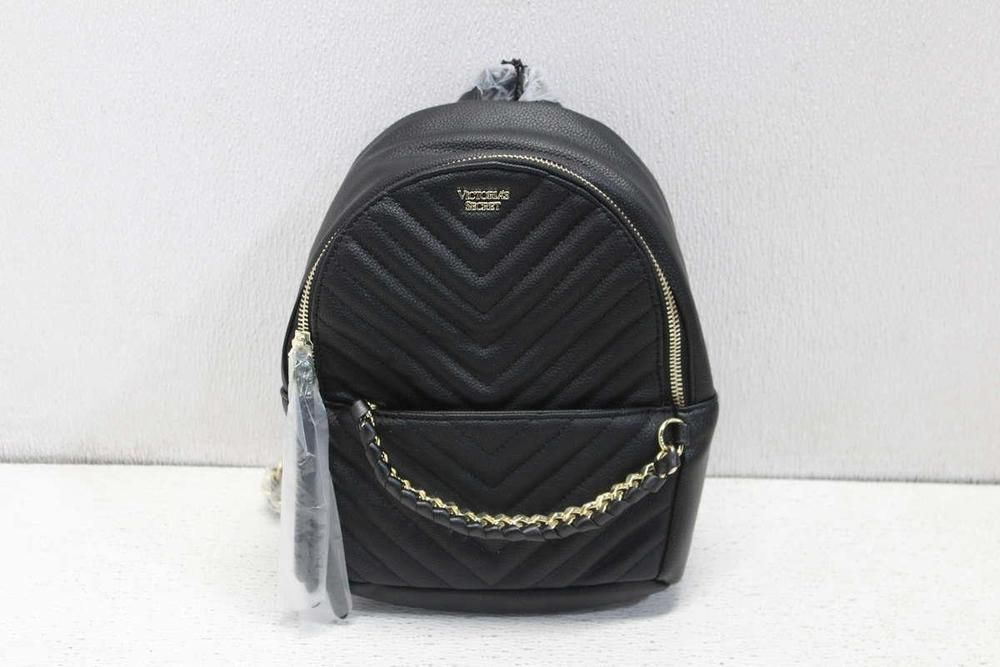 54d4dd01069c Victoria s Secret Pebbled V-Quilt Small City Backpack Black ...