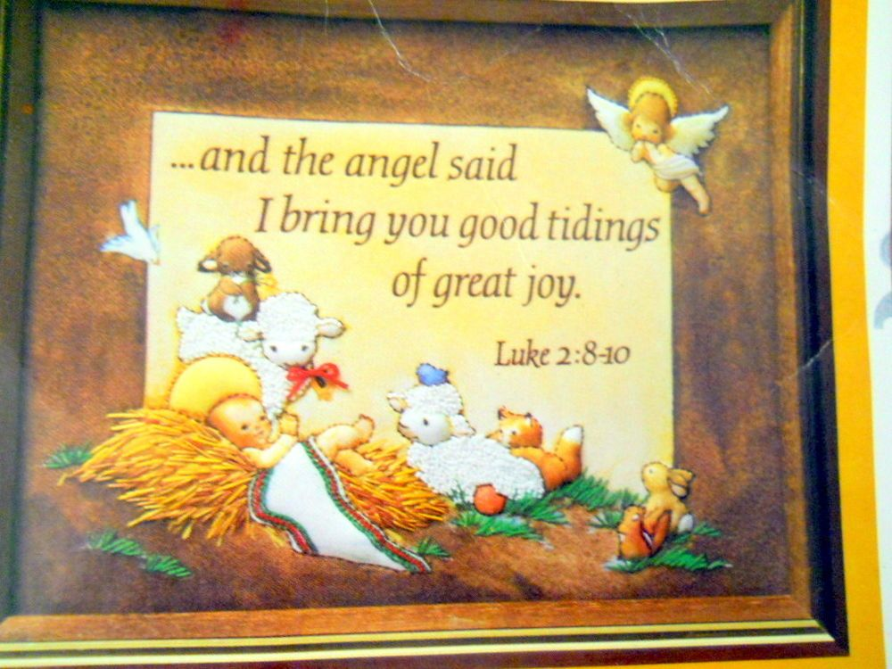 Good Tidings Embroidery Kit 2143 Creative Circle Angel Bible Luke 2: 8 10  Quote