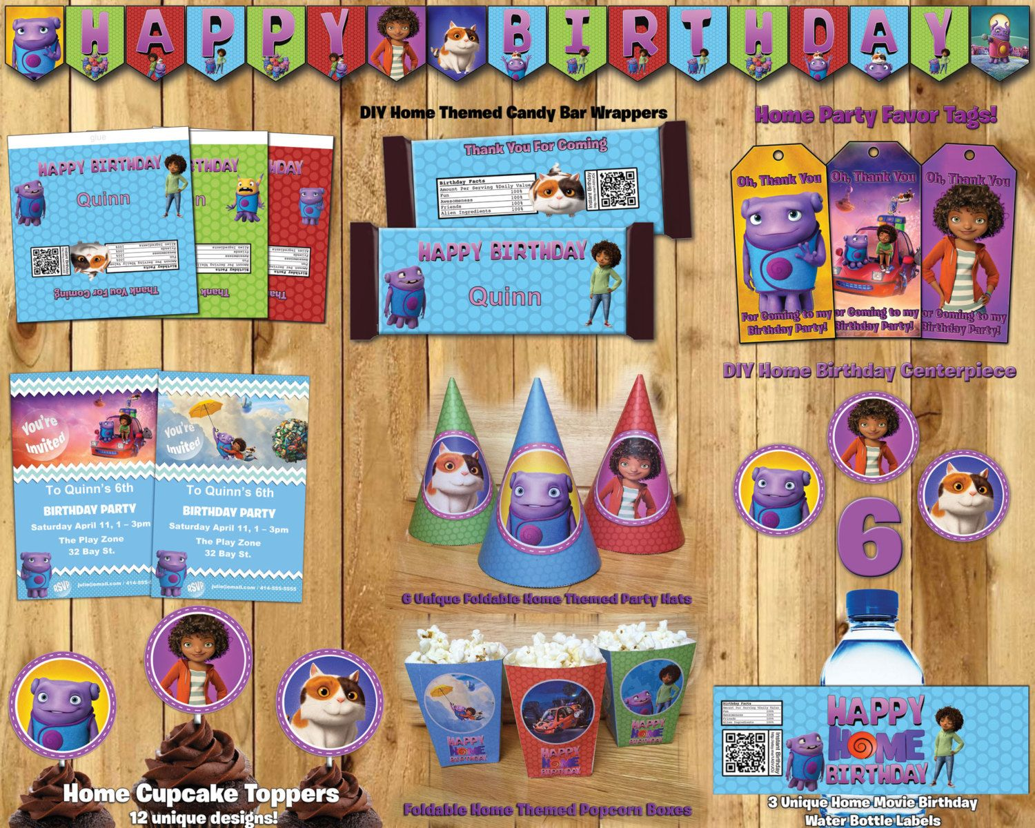 Diy home birthday party kit download banner invite cupcake toppers diy home birthday party kit download banner invite cupcake toppers favor tags hats centerpiece dreamworks home stopboris Choice Image