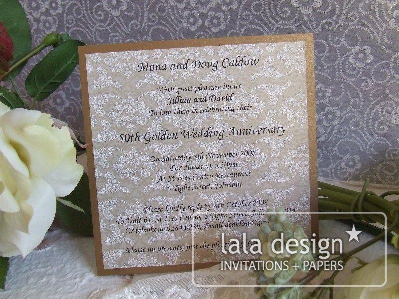 Latte damask wedding anniversary invitation