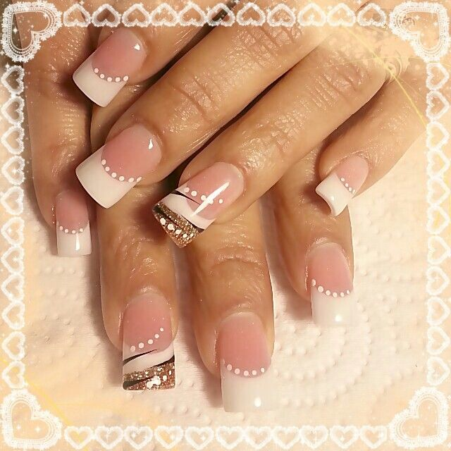 Pink And White French Bridal Nail Design | Nailart | Pinterest | Nagelschere Weiu00dfe Nu00e4gel Und ...