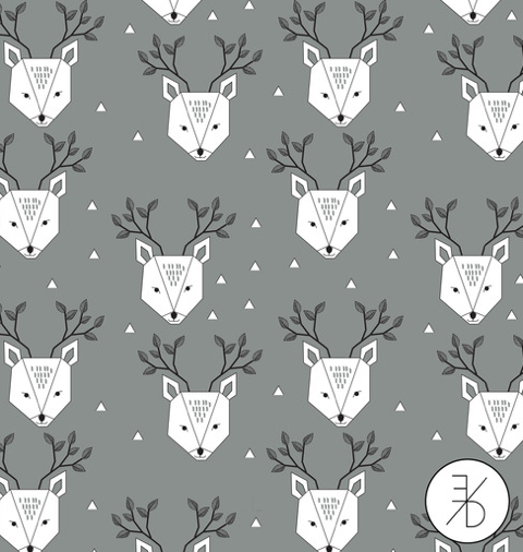 Elvelyckan Design Aw16 Jersey Dear Deer Grey Stoffladen Herbstkollektion Stoff