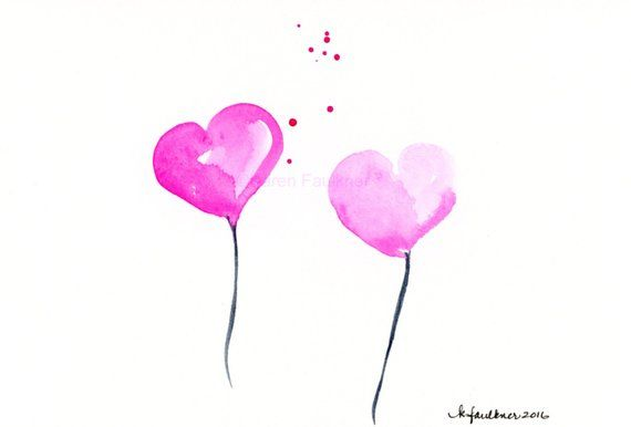 Original Watercolor Painting Of Two Pink Hearts Balloon Hearts