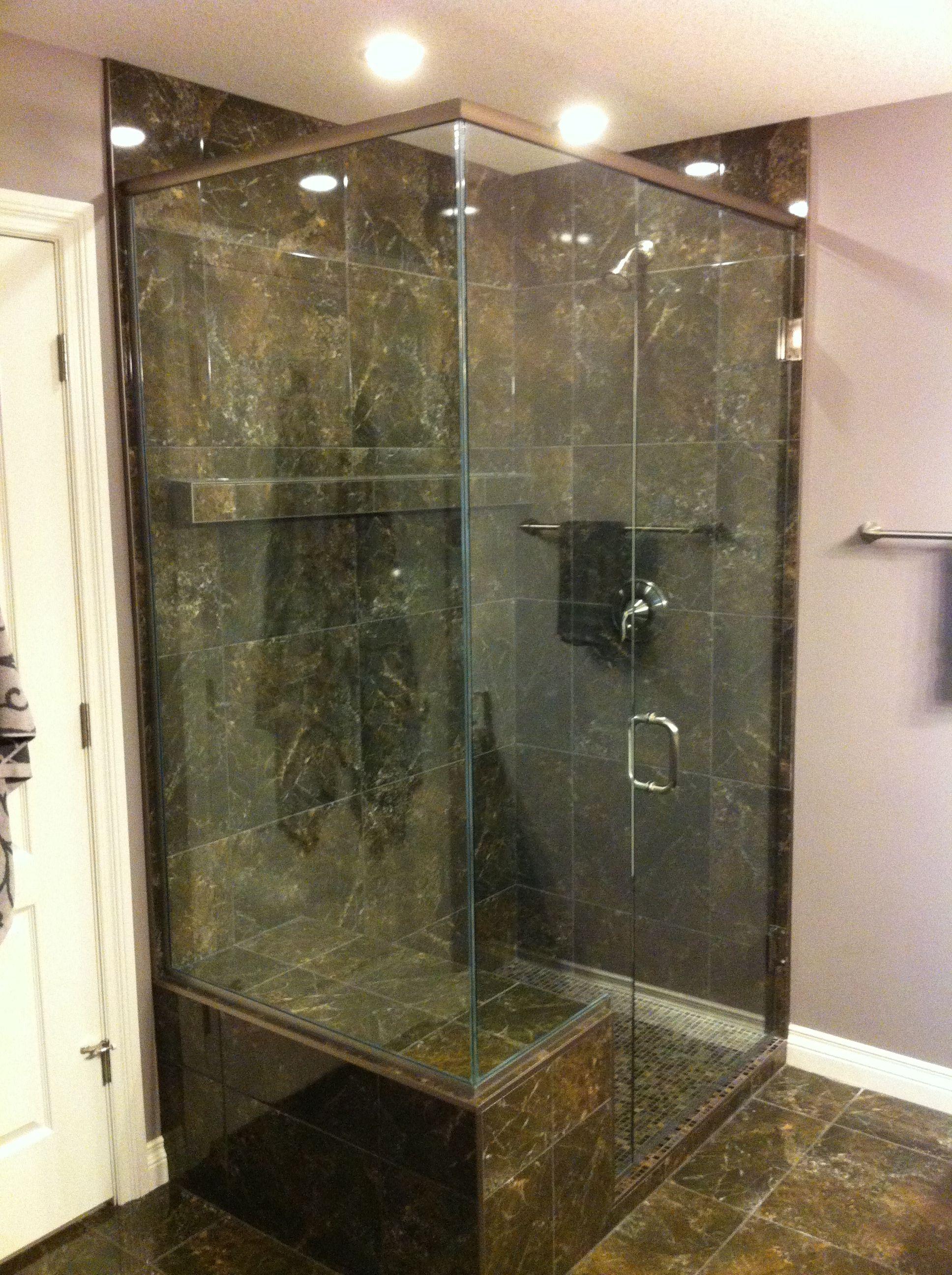 Corner shower with bench seat Wall mounted door brushed nickel ...
