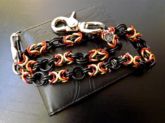 Wallet Chain Black Red Gold Biker Chain Custom by JSWALLETCHAINS