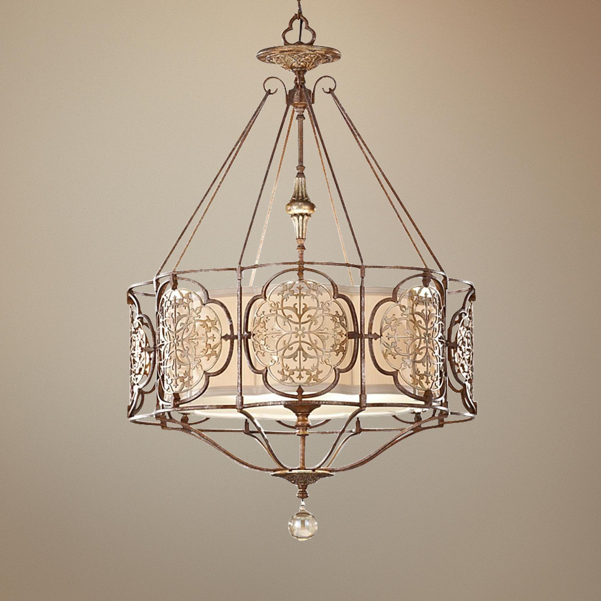 """Murray Feiss Foyer Lighting: Feiss Marcella 3-Light 21 1/4"""" Wide Bronze Chandelier"""