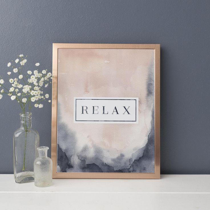 Blush and indigo relax modern quote art print yoga
