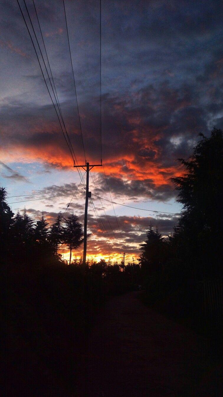 Power Lines West Africa Sky Beautiful Orange Suburbs Dawn