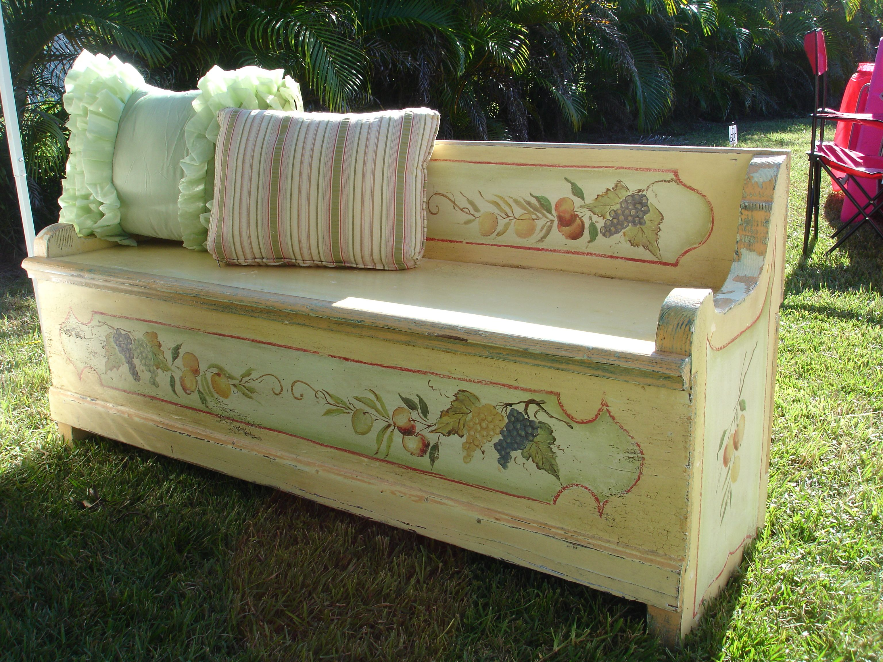 Country Wooden Benches Part - 25: Antique French Country Wooden Storage Bench