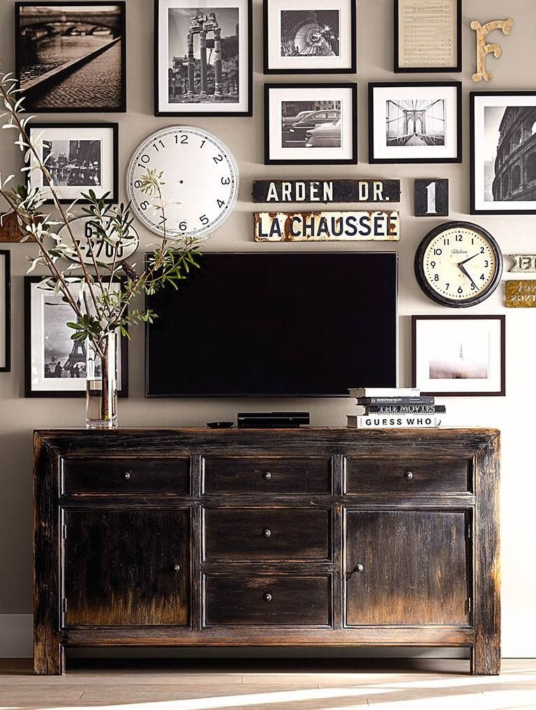 Love The Picture Arrangement Camouflaging The Tv Home Decor Home Interior