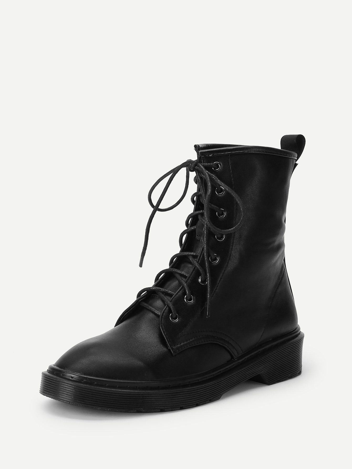 1854cfa2f3 Casual Almond Toe Short No zipper Black Lace-Up Plain Boots | Shoe ...