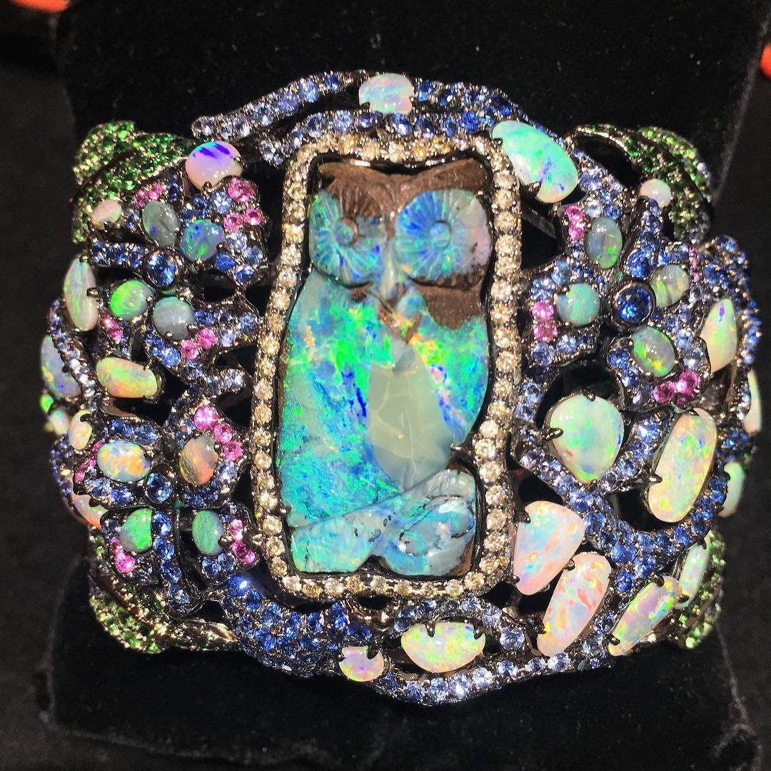 Wendy yue carved opal owl bracelet with surrounding opals and multi