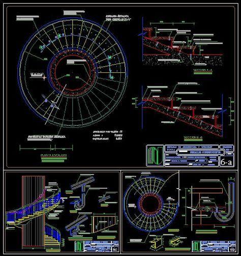 Detalles constructivos de escalera espiral dwgdibujo de - Escalera en espiral ...