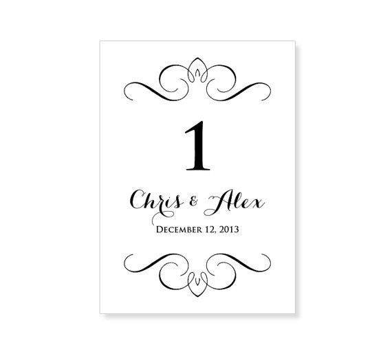table number template printable instant download for word and