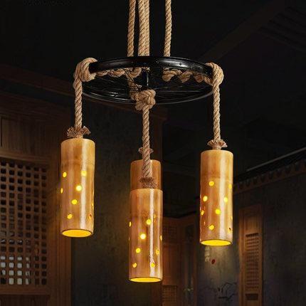 Retro Loft Style Rope Bamboo Droplight Creative Iron Vintage Pendant Light Fixtures Dining Room Led Hanging Lamp Home Lighting Lampen Wijnflessen Lampen Maken