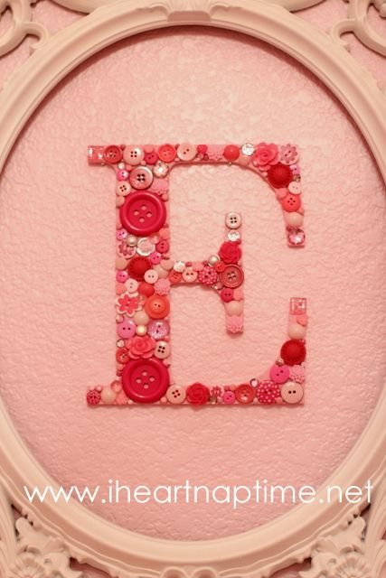 Button letter - glued, not sewed.