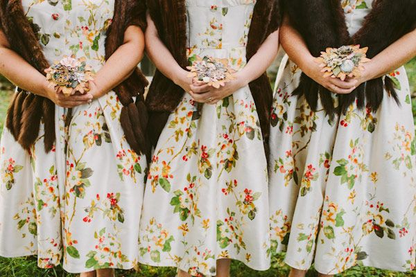 DIY Vintage Print Bridesmaids Dresses Captured By Campbell